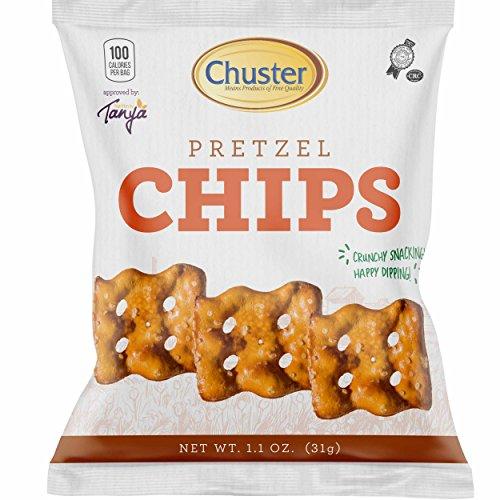 Chuster Pretzel Chips Individual Snack Packs, 100 calories, 60 1.1 oz packs per case, Kosher-Yoshon (Fancy Pretzels)