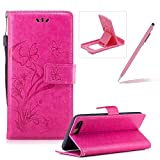 Strap Leather Case for iPhone 7 Plus,Portable Wallet Case for iPhone 7 Plus,Herzzer Bookstyle Pretty Stylish [Hot Pink Butterfly Flower Design] Stand Magnetic Smart Flip Case with Soft Inner for iPhone 7 Plus 5.5 inch + 1 x Free Pink Cellphone Kickstand + 1 x Free Pink Stylus Pen