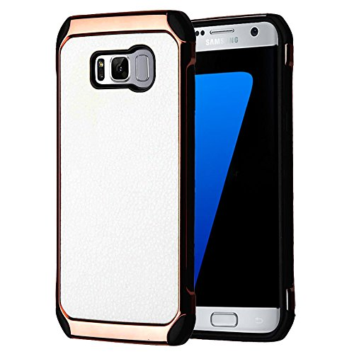 (Kaleidio Case For Samsung Galaxy S8+ Plus G955 [Impact Shield] Dual Layer Hybrid Protection [Shockproof] Slim Fit Reinforced Armor Hard Cover w/ Prying Tool [White/Rose Gold Bicast Leather])