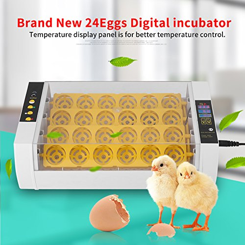 Estink Egg Incubator Hatcher,24 Eggs Fully Clear Digital Automatic Turning Temperature Humidity Incubator Hatcher Control with Display for Chicken Chick