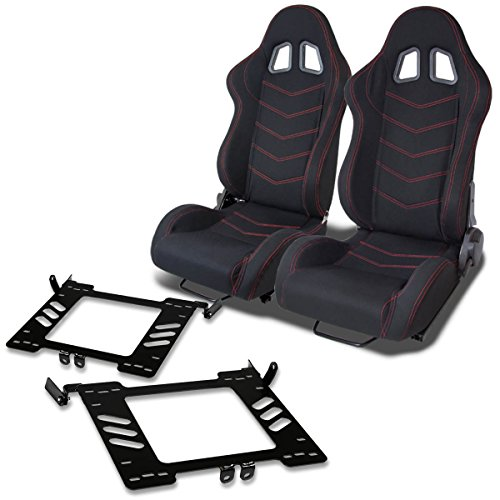 Pair of RST118BK Racing Seats+Mounting Bracket for Volkswagen Golf/Jetta/Beetle A4 Typ 1J
