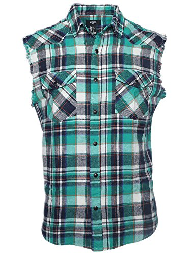 NUTEXROL Men's Casual Flannel Plaid Shirt Sleeveless Cotton Plus Size Vest Green and White (Green Sleeveless Cotton Shirt)