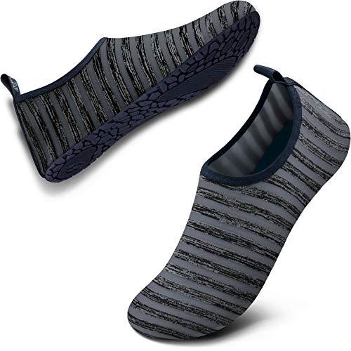 SIMARI Womens and Mens Water Shoes Quick-Dry Aqua Socks Barefoot for Outdoor Beach Swim Sports Yoga Snorkeling SWS002 (W:12.5-13.5 / M:11.5-12.5, Striation Grey)