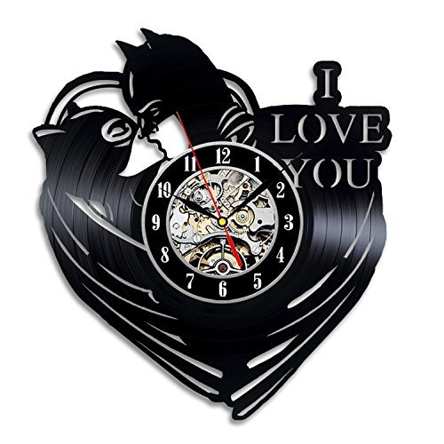 Batman And Catwoman Art Vinyl Record Clock Wall Decor Home Design