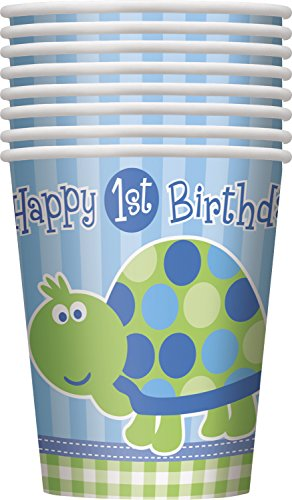 9oz Turtle 1st Birthday Party Cups, 8ct