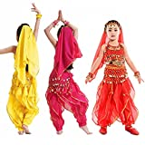 Children Indian Belly Dance Costume Set Tops + Pants Bollywood Dancing Clothes for Girls
