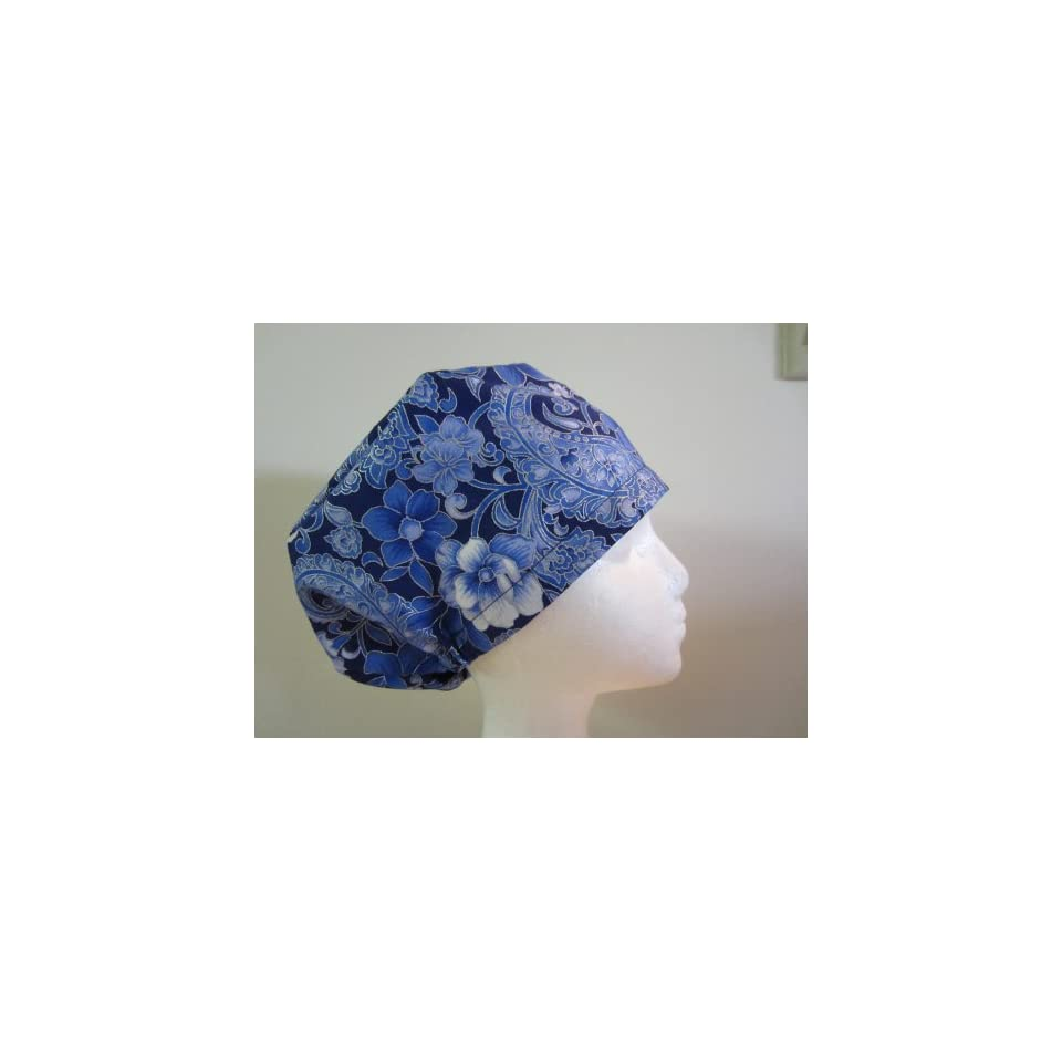 Womens Close Fit Scrub Cap, Adjustable, Blue Flower