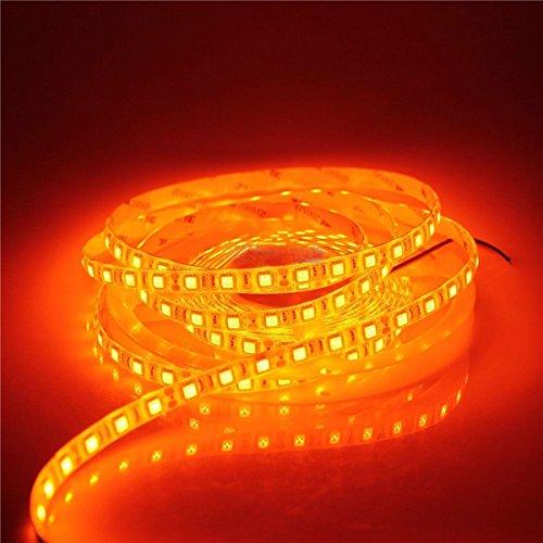 5M LED Strip Light 16.4ft 5050 SMD Orange Color 300Leds IP65 Waterproof Flexible LED Strip Light lamp For Car Wall Indoor Outdoor Decoration 12V DC