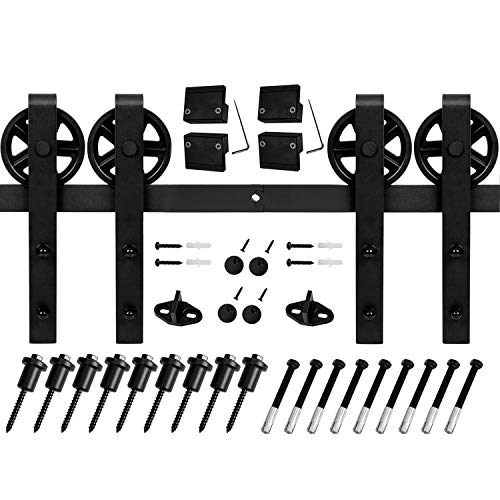 EaseLife 12 FT Double Door Heavy Duty Big Wheel Sliding Barn Door Hardware Track Kit - Ultra Hard Sturdy | Slide Smooth Quiet | Easy Install | Fit Two 30''~36'' Wide Door | 12FT Track Double Door Kit by EaseLife (Image #5)