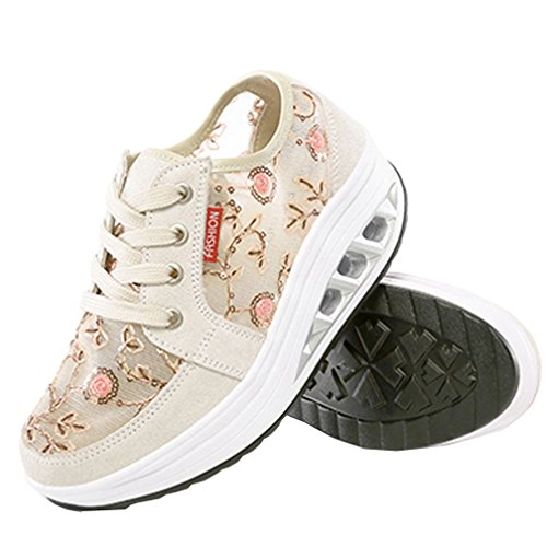 Air Athlétique Plein Beige Chaussures Plate Respirant Coin forme Baskets Vecjunia Dames Mesh De Secousse Confortables De Oxq17nS