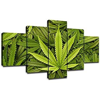 Marijuana Wall Decorations for Room Canvas Wall Art Cannabis Leaves Art Framed Home Decor Marijuana Leaf Artwork for Dispensary Poster Picture Painting Ready to Hang(60x32inches)