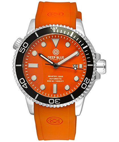 Deep Blue MASTER 1000 Automatic Diver watch Black bezel Orange strap & (Diving Automatic Orange Dial)