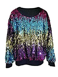 Blue & Multi-Color Short Sequins Jacket With Long Sleeves