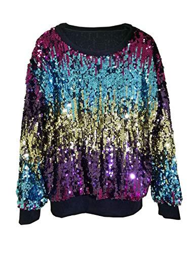 (Women's Hot Fashion Stunning Sequins Dancing Hip Hop Pullover Sweatshirt Tunic Tank Top Basic Shirts Blouse Cocktail Party Bar Club Dress Blue L)