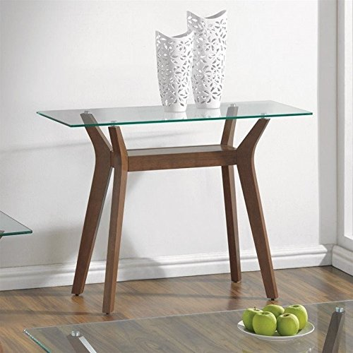 Coaster 1 Shelf Glass Top Console Table in Nutmeg