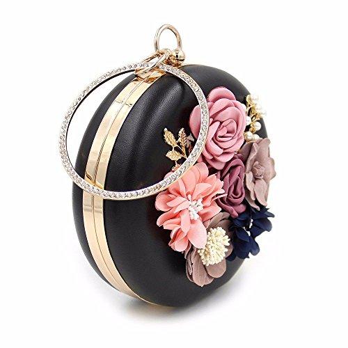 de Black calidad diamante noche noche de bolsa vestido Hot nueva 2018 ronda bolso bordado de perla perla Black alta flor v68qRwZH