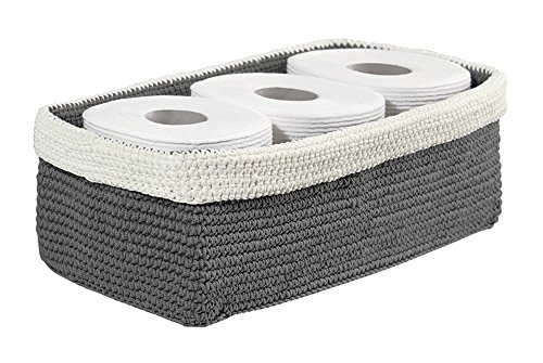 mdesign knit bathroom storage organizer bin for books toilet paper hand towels on the tank grayivory