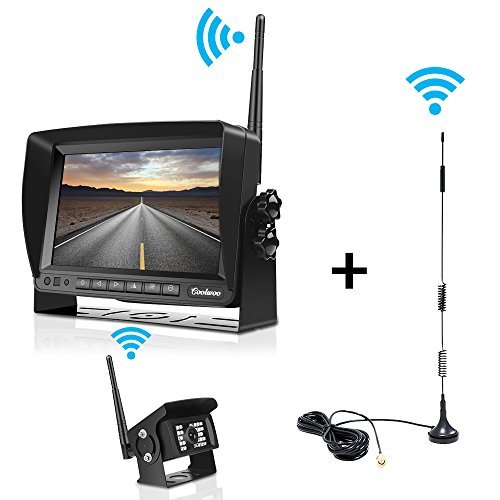 Digital Wireless Backup Camera kit for RV, IP69 Waterproof Upgraded No Interference Antenna Super Night Vision Rear View Cam with 7'' LCD Reversing Monitor for Truck, Trailer, RV, Van, Large Vehicles