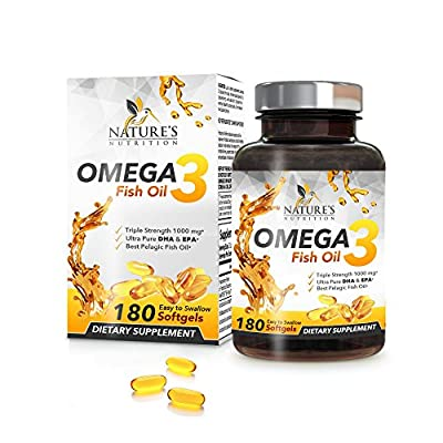 Omega 3 Fish Oil w/Triple Strength EPA & DHA 2400mg. Highest Concentration w/Fatty Acids. Supports Heart Health & Brain Development, Burpless, Non-GMO Supplement Pills, Lemon Flavor from Nature's Nutrition