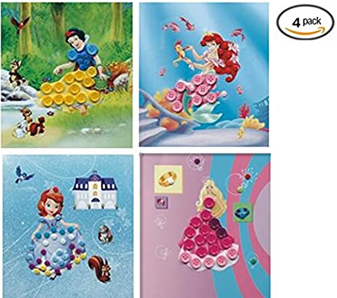 Vytung Button Painting Mosaic Sticker DIY handmade Art Kits for Kids Animal (Pack of 4) (Princess) (Scratch And Sniff Stickers Bulk)