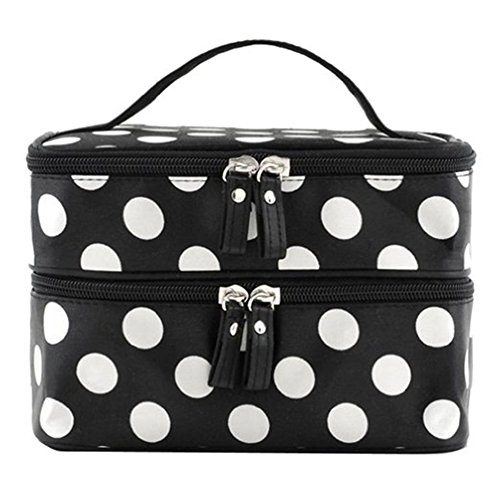 Makeup Dots Mirror (Beauty Case Cosmetic Bag Double Layer with Mirror Travel Portable Toiletry Makeup Bag Organizer Black with White Dots Pattern 2 Layer Handy Size (7.67x5.5x4.92 Inch))