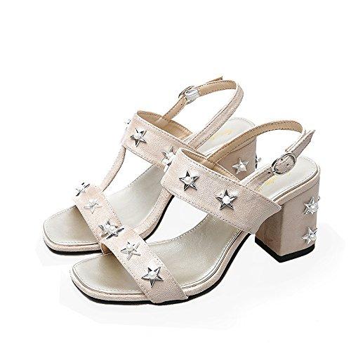 SHOESHAOGE Espesor Con Perla High-Heeled Sandals Hembra, Con Fijaciones Remaches Ranurados Roma Zapatos De Mujer ,Eu39 EU35