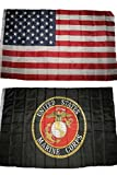 3x5 3'x5' Wholesale Lot Combo: USA American w/ Black USMC Marines Marine Corps Flag