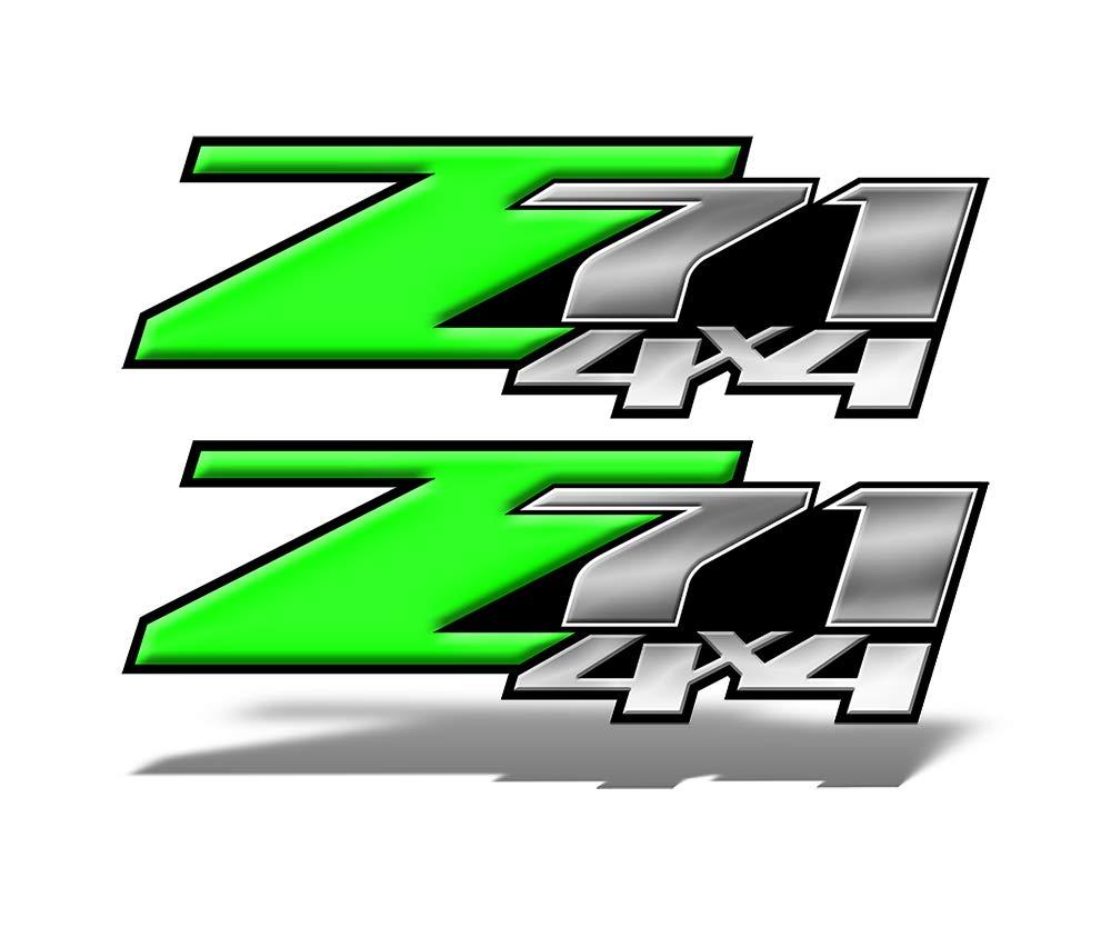 Amazon com speed demon hot rod shop z71 4x4 decals green vinyl graphic truck decals set of 2 mk004z71 automotive