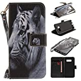 Misteem Case for Samsung Galaxy S8 Animal, Cartoon Anime Comic Leather Case Wallet with Bookstyle Magnetic Closure Card Slot Holder Flip Cover Shockproof Slim Creative Pattern Shell Protective Cover for Samsung Galaxy S8 [White Tiger]