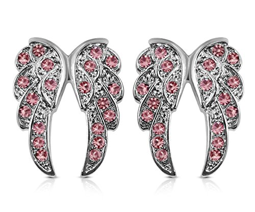 Small Crystal Guardian Angel Wings Silver Tone Stud Earrings Fashion Jewelry Gift (Pink)