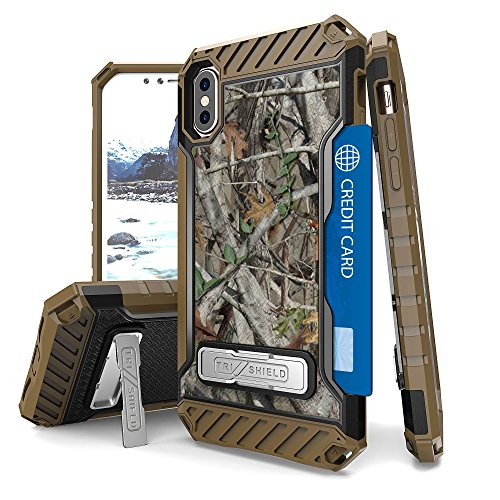 - PimpCase Designed for iPhone X Case, Durable Hybrid Rugged Armor Shockproof Phone Cover with Built in Metal Kickstand Camoflage
