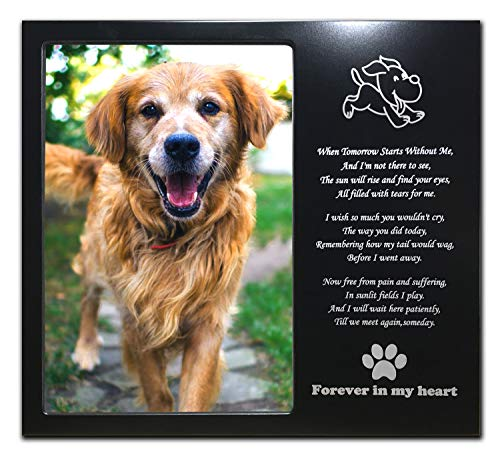 JOEZITON Pet Memorial Personalized 4x6 Picture Frame for Loss of Dogs. (02B) (Dog Picture Frame Metal)