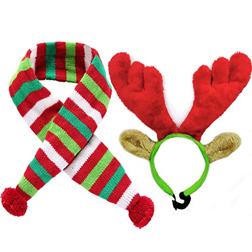 Malier Christmas Holiday Elk Reindeer Antlers with Ears and Red-White-Green Striped Scarf Set, Dog Costumes Accessories, for Dogs Puppies Cats Pet (Small)