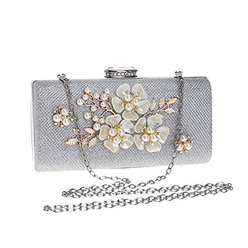 Women Clutch Bag Purse Evening Handbag Glitter Pearl Shoulder Bag For Bridal Wedding Party Prom Clubs Ladies Gift,Silver-1895cm