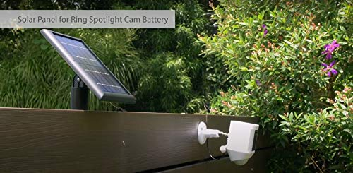 Wasserstein Solar Panel Compatible with Ring Spotlight Cam Battery & All-New Ring Stick Up Cam Battery - Power Your Ring Surveillance Camera continuously with 2W 5V Charging (2 Pack, Black)