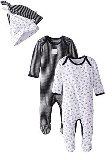 Burt's Bees Baby - Set of 2 Bee Essentials Footed Coveralls + Knot Top Hats, 100% Organic Cotton
