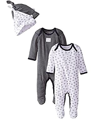 Set of 2 Bee Essentials Footed Coveralls + Knot Top Hats, 100% Organic Cotton