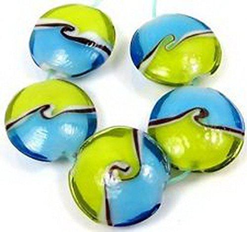 Wave Lampwork Bead (Glamorise Beads #13309 Lampwork Glass blue green Ocean Sea Waves Lentil Beads)