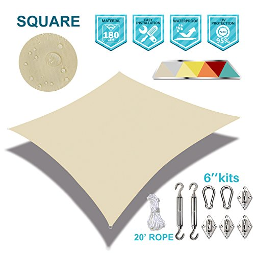 Coarbor Waterproof 10'x10′ Customized Sun Shade Sail Canopy Came with Hardware Kit S ...