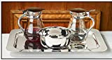 Cruet Set with Tray and Bowl - Nickel- Plated Brass