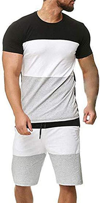 Oecbue Mens Jogging Suit Set 2 Piece Outfits Short Sleeve and Shorts Tracksuit Set Running Sport Suits
