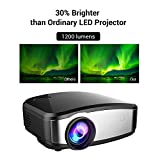 Projector, Mini LED Multimedia Video LCD Projector 1200lumen Max 130 Screen For Home Theater Cinema, Movie, Iphone, Ipad, Chromecast, TV, Laptop, DVD, MHL, Gaming With HDMI USB VGA AV By Cheerlux