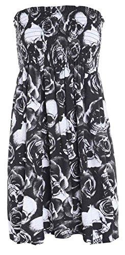 Moda 4Menos Mujer señoras Plus Tamaño Impreso Sheering boobtube Top sin tirantes chaleco vestido 822 Camuflaje