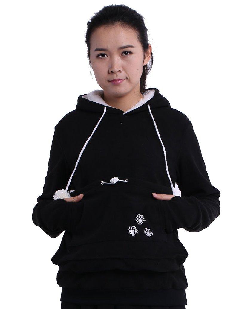Fleece Hoodies Pet Holder Cat Dog Kangaroo Pouch Carriers Pullover Black XXL