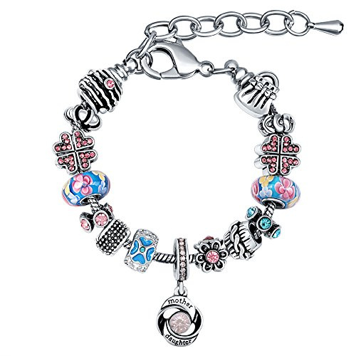 MANBARA Mother Daughter Charm Bracelet with Multicolor Beads (Mother Charm Bracelet)