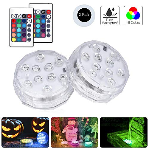 MUXIN Submersible Led Lights, Underwater Decorative Lights with Remote Controller, Waterproof Led Lights Halloween Decoration Lights for Aquarium Vase Base Pond Wedding Party (2Pack)