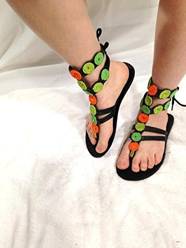 7c36d3d8b9fb Amazon.com  African Bead Gladiator Flat Slim Womens Leather Sandals ...