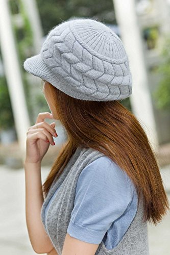 099e26eb929b88 HINDAWI Women Winter Warm Knit Hat Wool Snow Ski Caps With Visor (Grey)