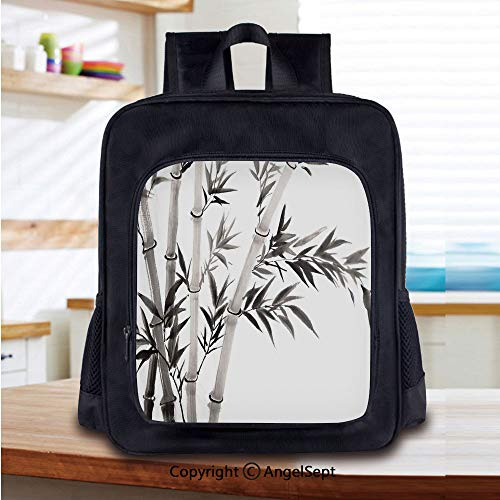 14 Inch Backpack,Traditional Bamboo Leaves Meaning Wisdom Growth Renewal Unleash Your Power Artprint Perfect for Primary, Preschool, Daycare, and Day Trips,Grey White ()