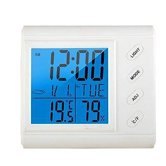 Higrómetro digital para habitación, termómetro grande LCD, retroiluminación, despertador, medidor de humedad